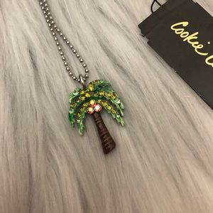 Cookie Lee Crystal Palm Tree Necklace 🌴
